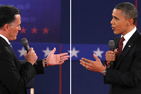 Republican presidential nominee Mitt Romney and President Barack Obama during the second U.S. presidential debate