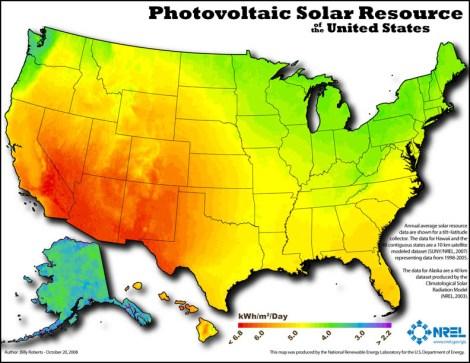 NREL: solar insolation map