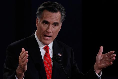 Republican presidential nominee Romney speaks during the first presidential debate with President Obama in Denver