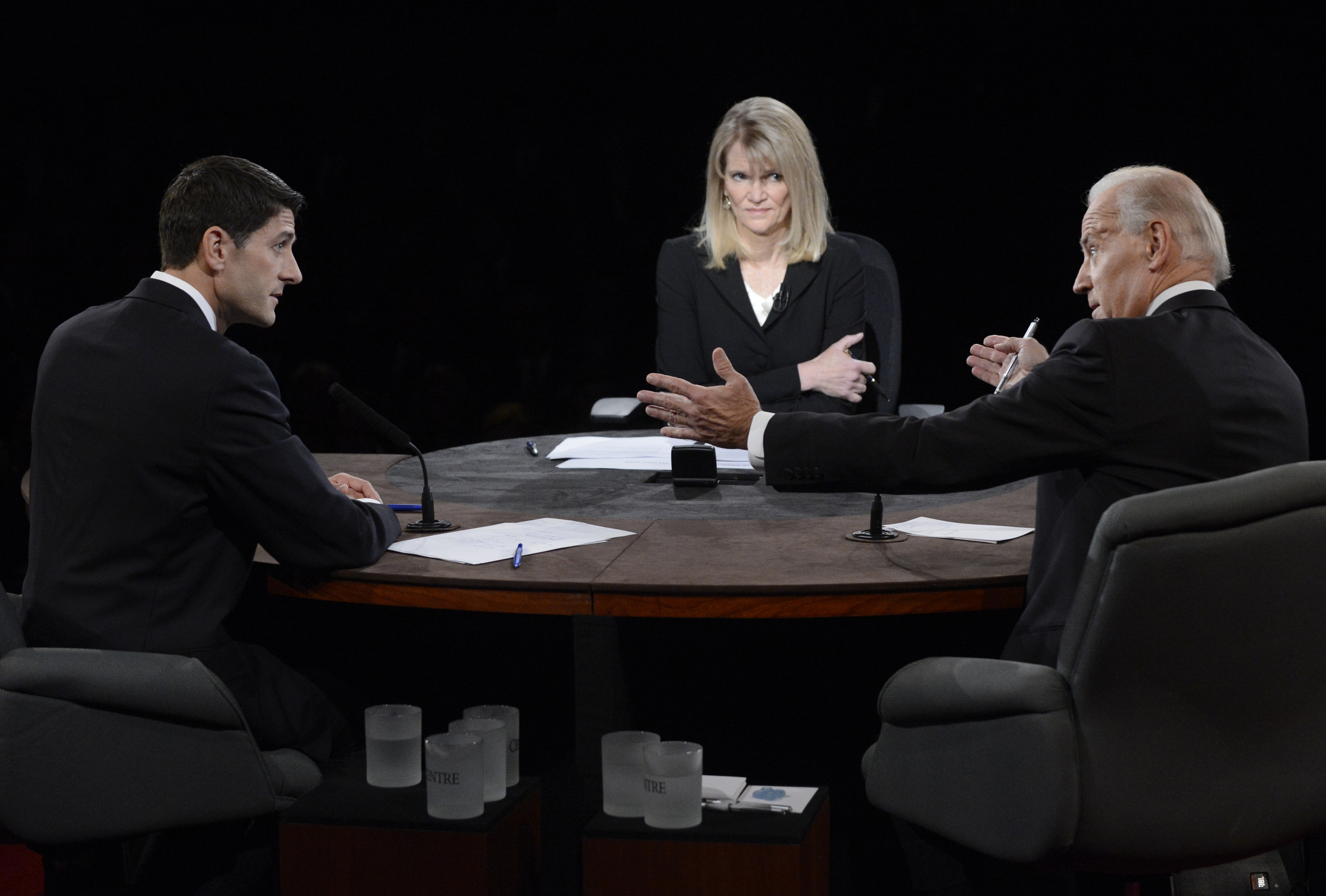 Paul Ryan, Joe Biden, and Martha Raddatz at VP debate