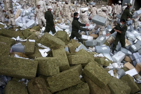 Mexican authorities prepare to destroy seized drugs.