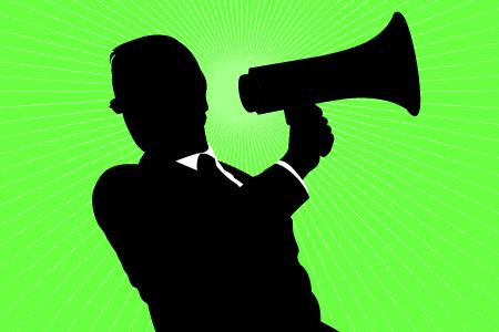 secret agent with a megaphone