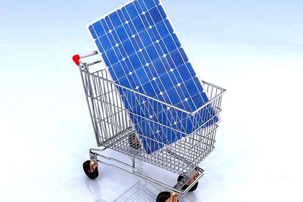 Solar panel in shopping cart