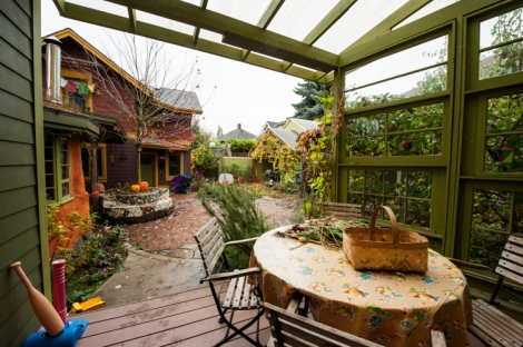 Back deck from one Sabin Green home shows the view into the shared courtyard.