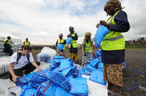 Distributing mosquito nets in the Congo