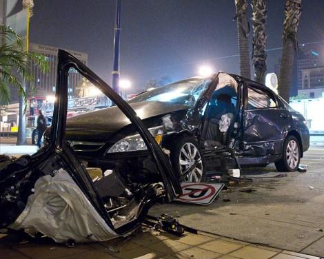 An accident scene near Long Beach.