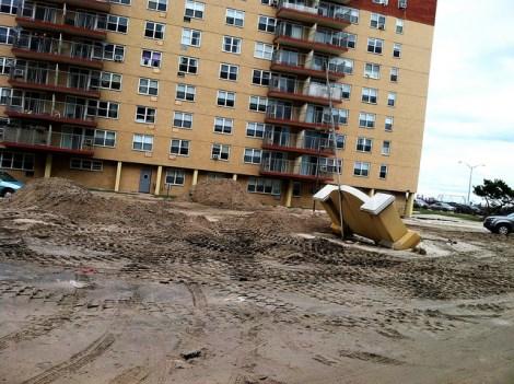 A damaged hotel in the Rockaways