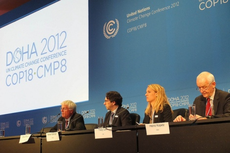 Neither this press conference nor the elegant COP18 branding could stem rampant carbon pollution :(