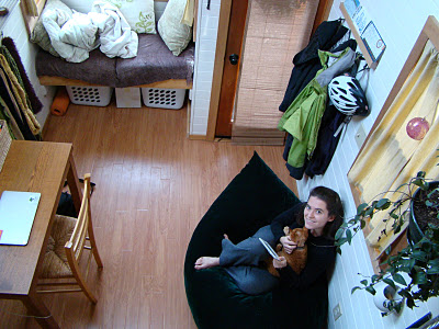 A view down from the sleeping loft into Lina's main living space.