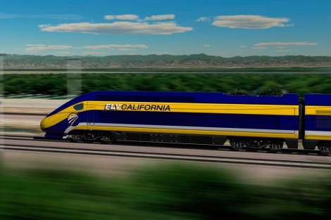 drawing of California's planned high-speed train