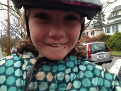 Lucia, after a Christmas Day bike ride in the mud