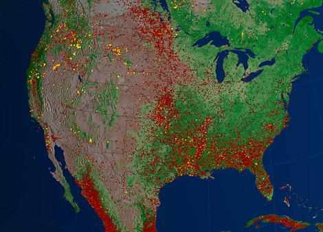 """From the description: """"Areas of yellow and orange indicate larger and more intense fires, while many of the less intense fires, shown in red, represent prescribed burns started for brush clearing and agriculture and ecosystem management."""" Click to embiggen."""