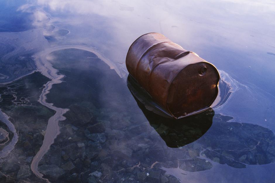 oil barrel in water