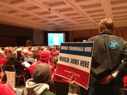 Terminal supporters spoke of the desperate need for jobs.