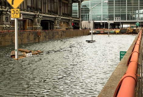 The flooded Brooklyn-Battery Tunnel