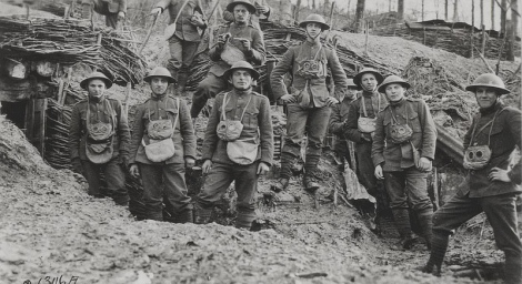 Marines during World War I emerge from the trenches to survey the futile conflict