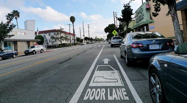 bike lane labeled as