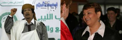 Moammar Gadhafi, left. Lisa Jackson, right.