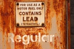 sign for leaded gasoline