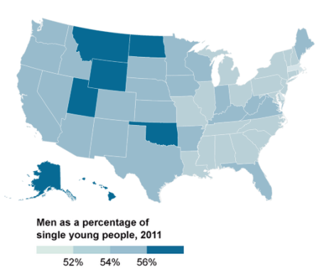 unmarried men by state