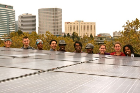 happy people & solar panel