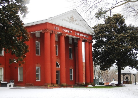 The courthouse in Lee County, North Carolina