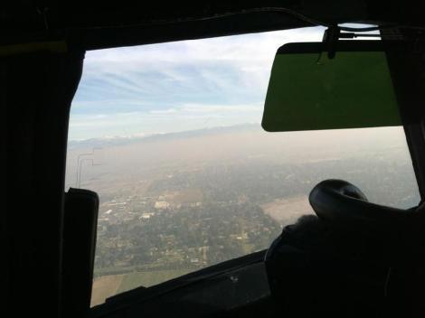 A NASA plane flies over Fresno