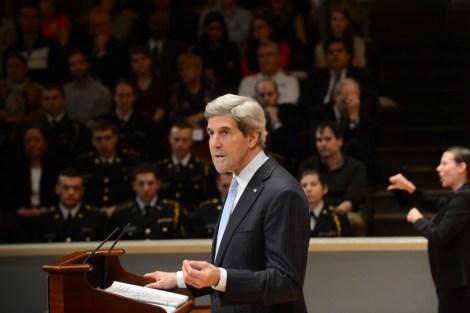 The sign language interpreter offers her critique of Kerry's speech