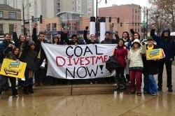 "protest: ""coal divestment now"""