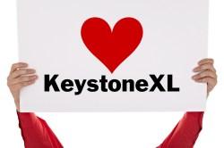 """I heart Keystone XL"" sign"