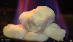 Methane hydrate burning in a laboratory
