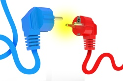 red and blue power plugs