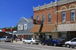 The main strip in the city of St. Charles, Minn.