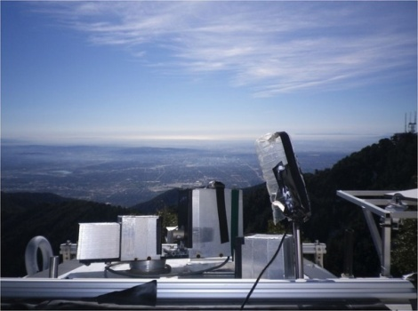 """Los Angeles on a """"clear"""" day, as seen from atop the CLARS monitoring station, which remotely tests the atmosphere above more than two dozen points in the Los Angeles Basin."""
