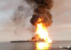 An oil-laden barge crashed into a gas pipeline in Louisiana