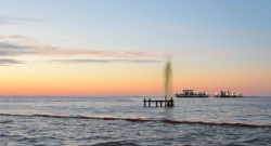 "A ""small"" spray of crude gushes into the Gulf after a boat crashed into a wellhead"