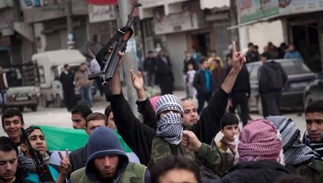 Syrian rebels rally in Aleppo last November.