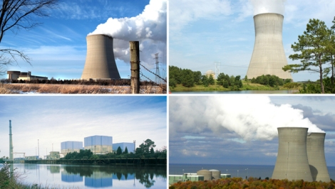 "Clockwise from top left: Byron Nuclear Station; Shearon Harris Nuclear Plant; Perry Nuclear Plant; Brunswick Steam Electric Plant. Each experienced a ""near miss"" in 2012."