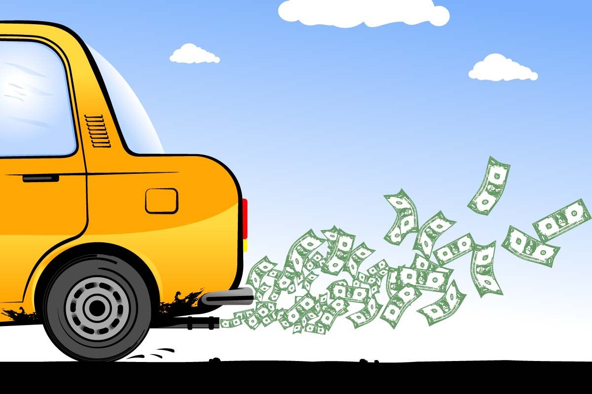 car spewing money