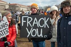 """""""frack you"""" sign"""