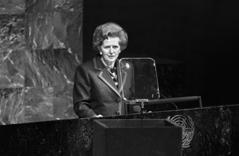 Thatcher at the U.N. in 1990.