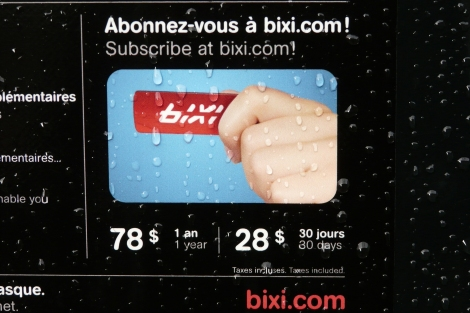An advertisement for Montreal's bikeshare.
