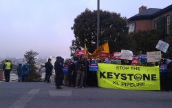 Protestors at an Obama fundraiser in the exclusive San Francisco neighborhood of Pacific Heights
