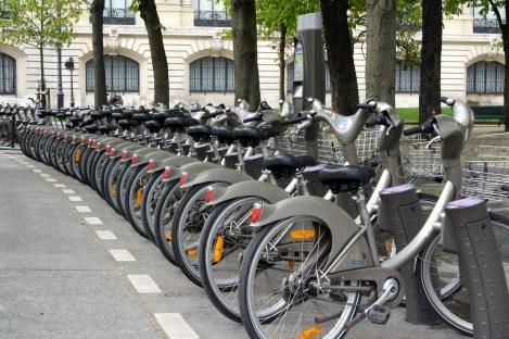 The Vélib' bikeshare in Paris.