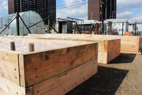 Raised bed construction at Seagirt Community Garden.
