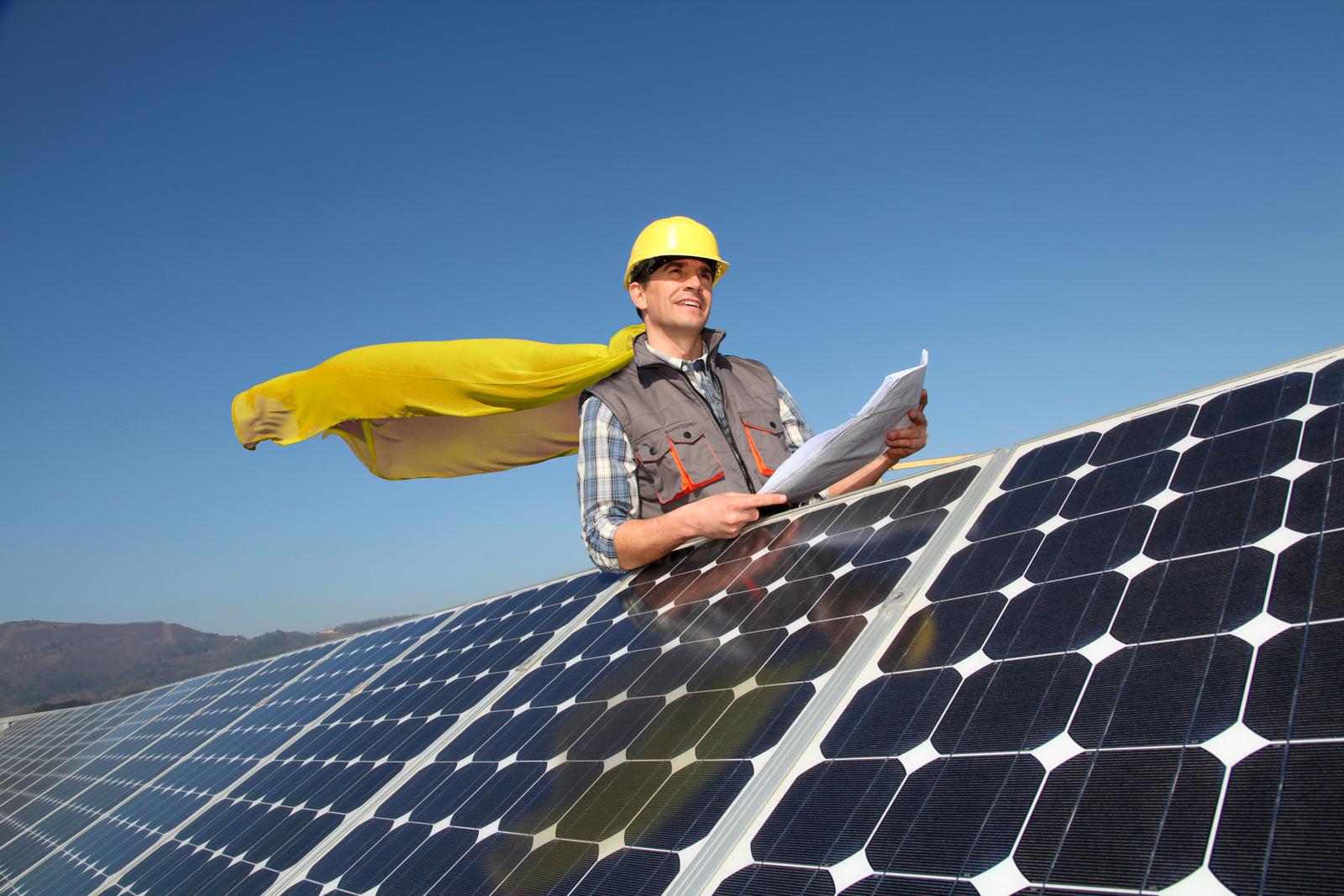 solar installer with a superhero cape