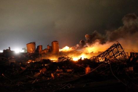 burning fertilizer plant