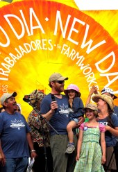 Bob St. Peter (with mic) with his family and Lucas Benitez of the CIW (right) at the closing rally of the CIW March for Rights, Respect, and Fair Food.