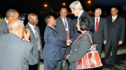 Kerry greeted in Ethiopia.