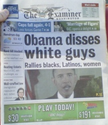 A Washington Examiner front page in 2010, after Obama called on blacks, Hispanics, women and young people to vote.